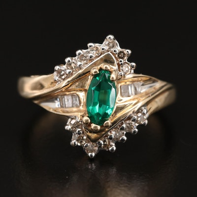 10K Emerald and Diamond Bypass Style Ring