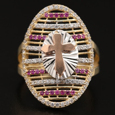 14K Cubic Zirconia and Ruby Cross Ring