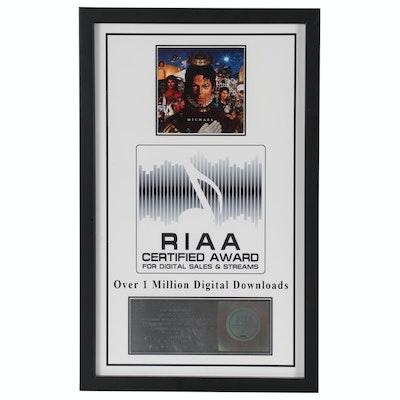 "RIAA Award for 1 Million Digital Downloads of Michael Jackson Album ""Michael"""