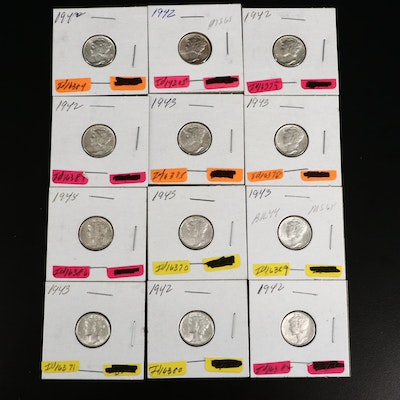 Twelve Uncirculated Mercury Silver Dimes, 1942 and 1943