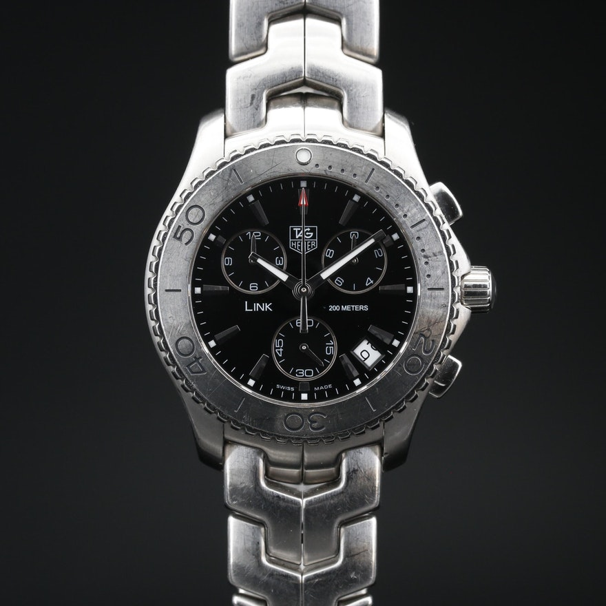 TAG Heuer Link Stainless Steel Chronograph Wristwatch