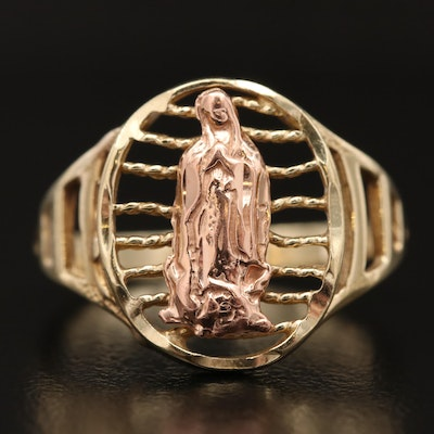 14K Two-Tone Virgin Mary Openwork Ring