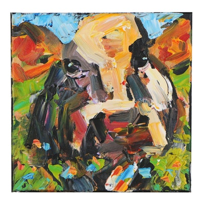Elle Raines Acrylic Painting of a Cow, 21st Century