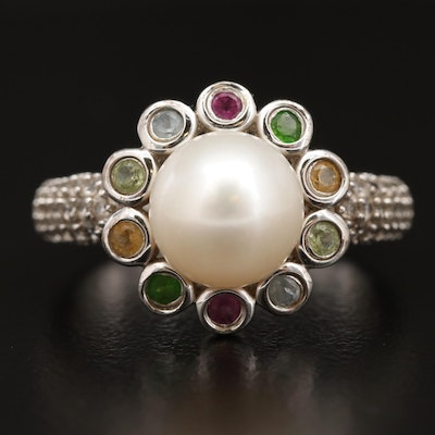 Sterling Silver Pearl Ring with Citrine and Topaz Accents