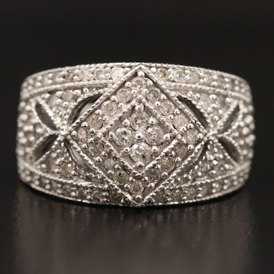 10K Diamond Wide Milgrain Openwork Ring