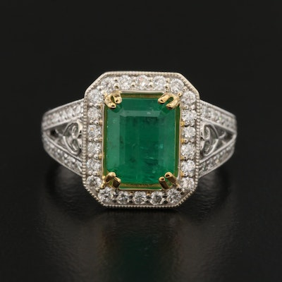 14K 2.54 CT Two-Tone Emerald and Diamond Halo Ring