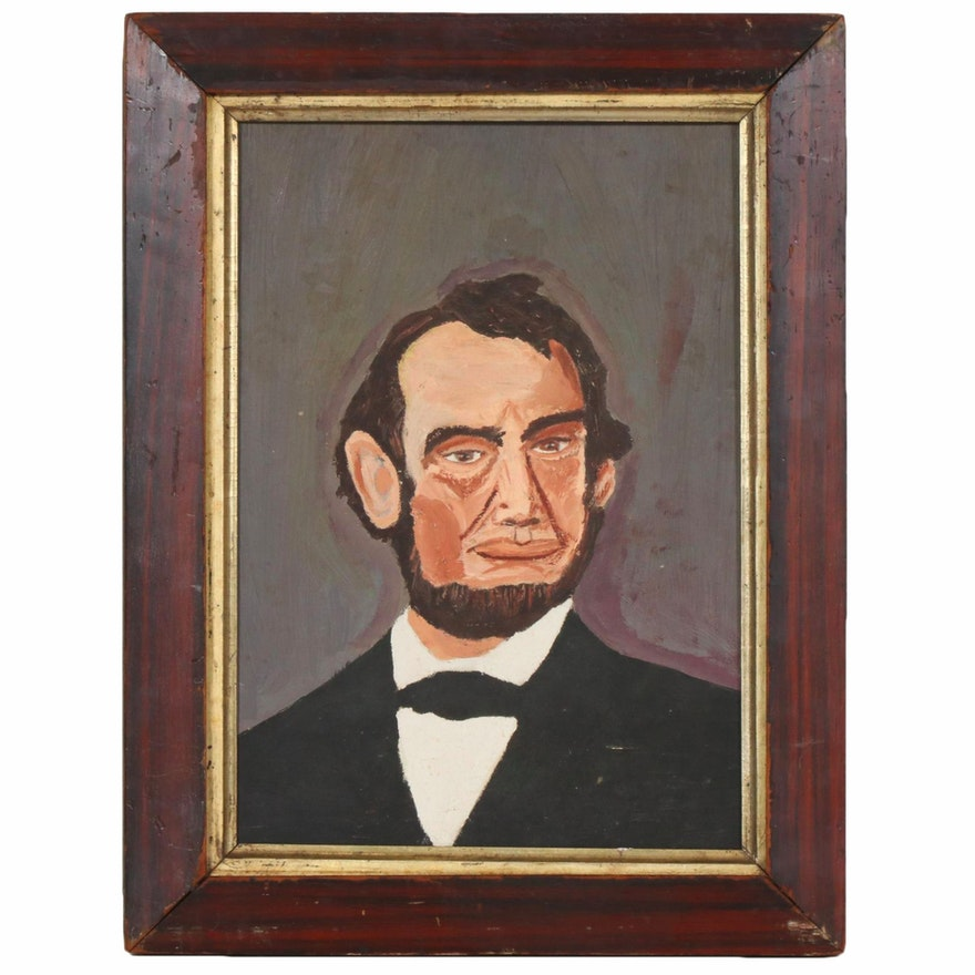 Naive Style Oil Painting Portrait of President Abraham Lincoln