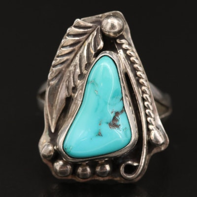 Western Sterling Silver Turquoise Feather Ring