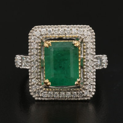 14K Gold 3.29 CT Emerald and Diamond Ring