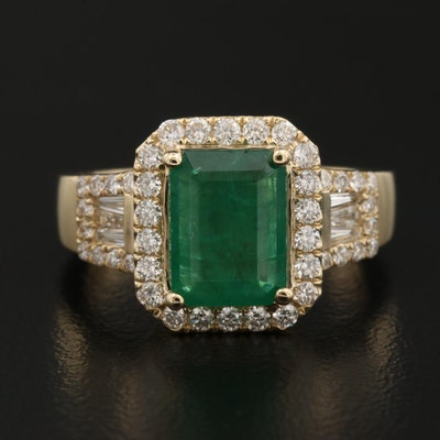 14K 2.22 CT Emerald and Diamond Ring
