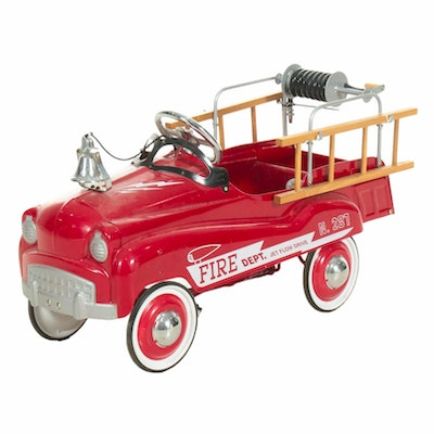 Burns Novelty and Toy Co. Hook and Ladder Fire Engine Pedal Car