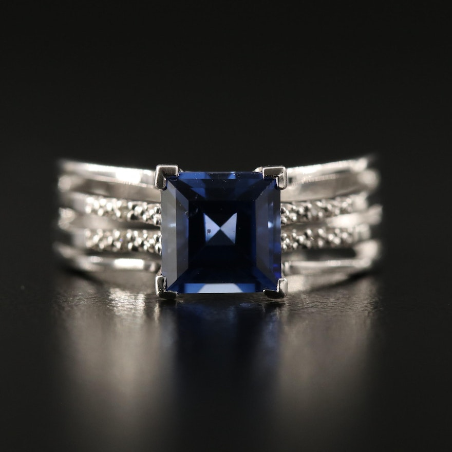 Sterling Silver Sapphire and Diamond Ring with Open Shank