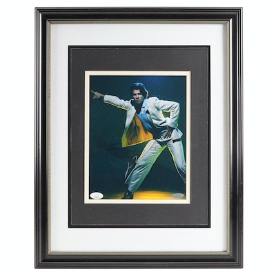 "John Travolta Signed ""Saturday Night Fever"" Dancing Framed Photo Print, JSA"