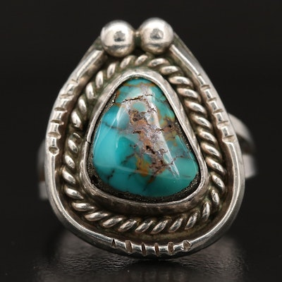 Western Sterling Silver Turquoise Ring with Rope Accent