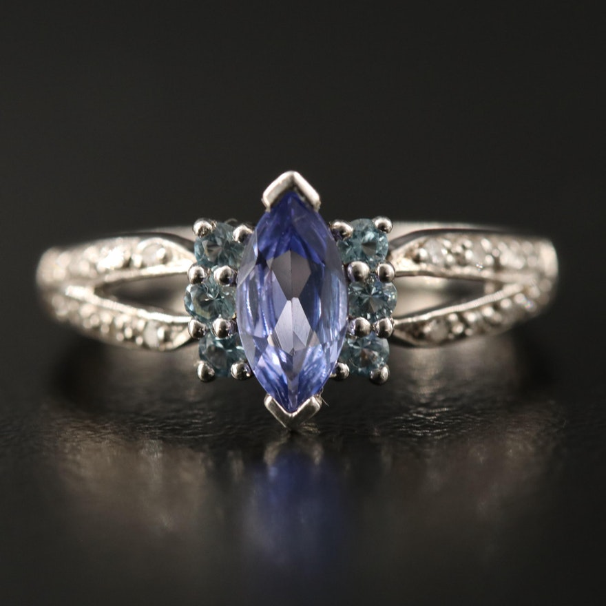 Sterling Silver Tanzanite, Topaz and Diamond Ring with Split Shank