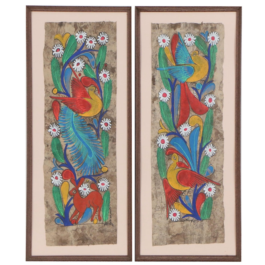 Mexican Folk Art Gouache Paintings on Amate Bark Paper, 1994
