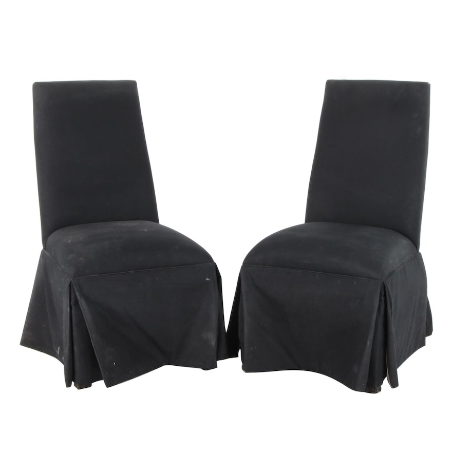 Pair of Upholstered Skirted Parsons Side Chairs, Late 20th Century
