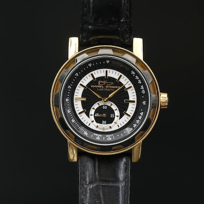 Daniel Steiger Labyrinth Stainless Steel and Black Resin Quartz Wristwatch
