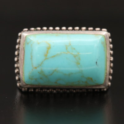 Sterling Silver Faux Turquoise Bar Ring