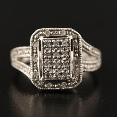Sterling Silver Diamond Ring Featuring Split Shank