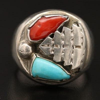 Sterling Silver Coral and Turquoise Leaf Motif Ring