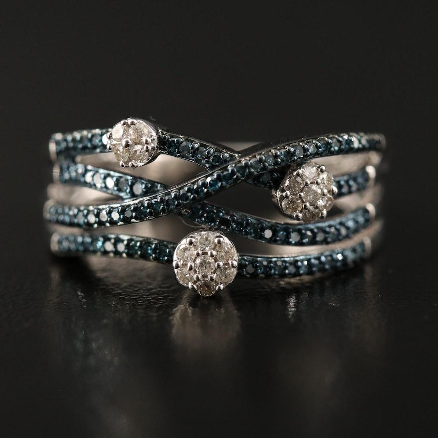 Sterling Silver Diamond Crossover Ring