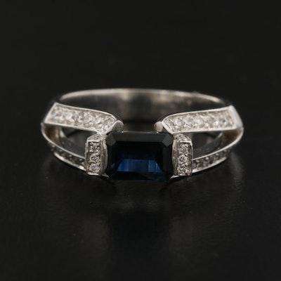 14K 1.03 CT Sapphire and Diamond Ring
