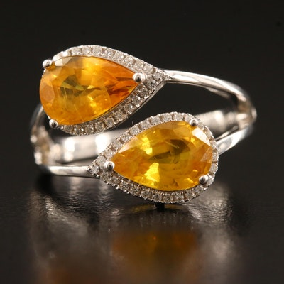 14K Yellow Sapphire and Diamond Ring Featuring Split Shank