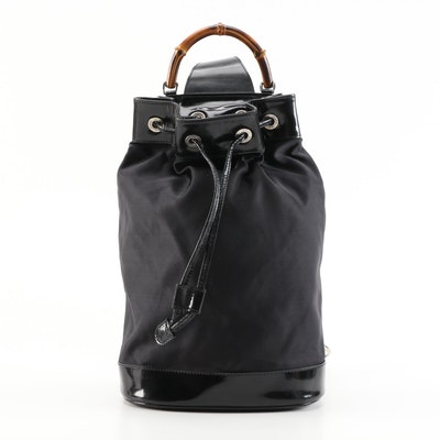 Gucci Bamboo Black Nylon and Leather Two-Way Sling Bag
