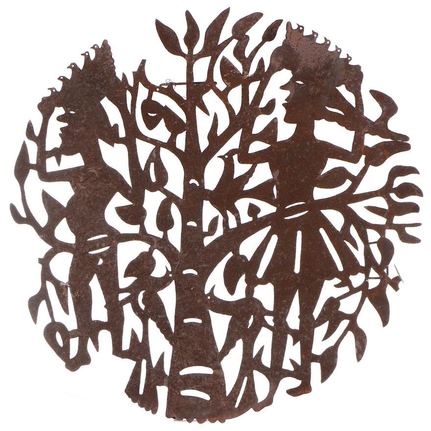 Seresier Louis-Juste Haitian Metal Art Sculpture of Figures and Tree