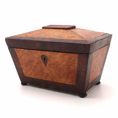 Birdseye Maple Sarcophagus Form Tea Caddy, 1860s