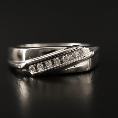 Sterling Silver Channel Set Diamond Band