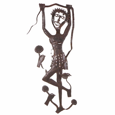 Gabriel Bien-Aime Haitian Metal Art Sculpture of a Woman