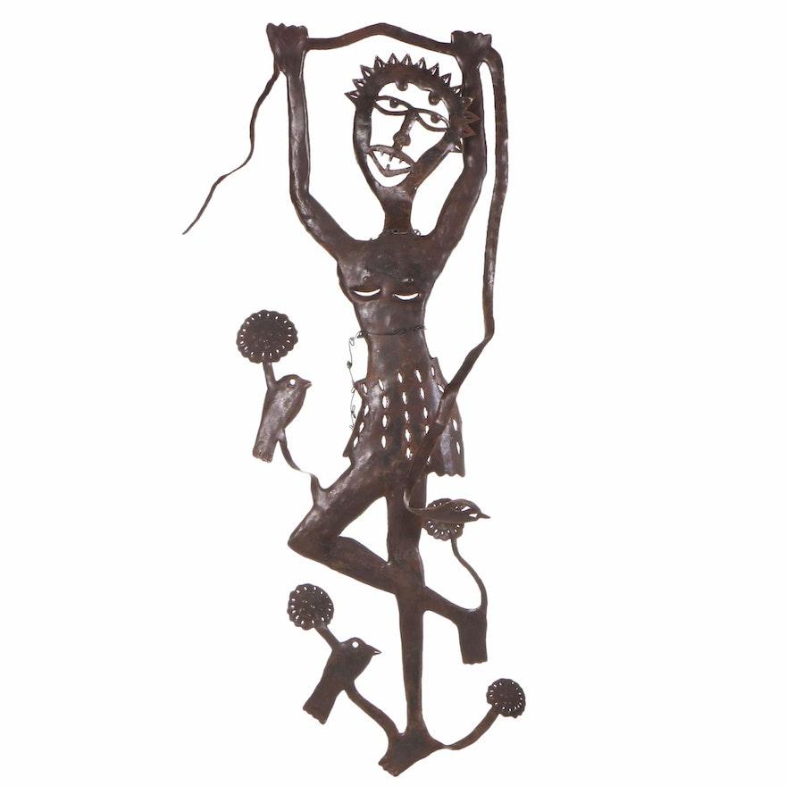 Gabriel Bien-Aime Haitian Metal Art Sculpture of a Woman