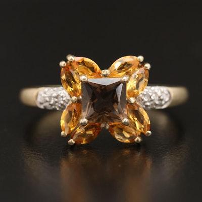 Sterling Silver Smoky Quartz, Citrine and Diamond Ring