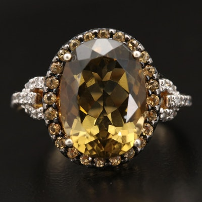 Sterling Silver Citrine and Diamond Halo Ring