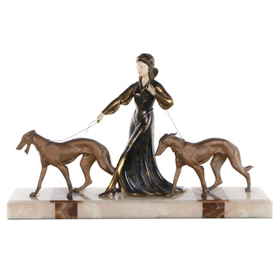 Robert Scali Copper Alloy and Marble Sculpture Woman with Borzoi, Circa 1930