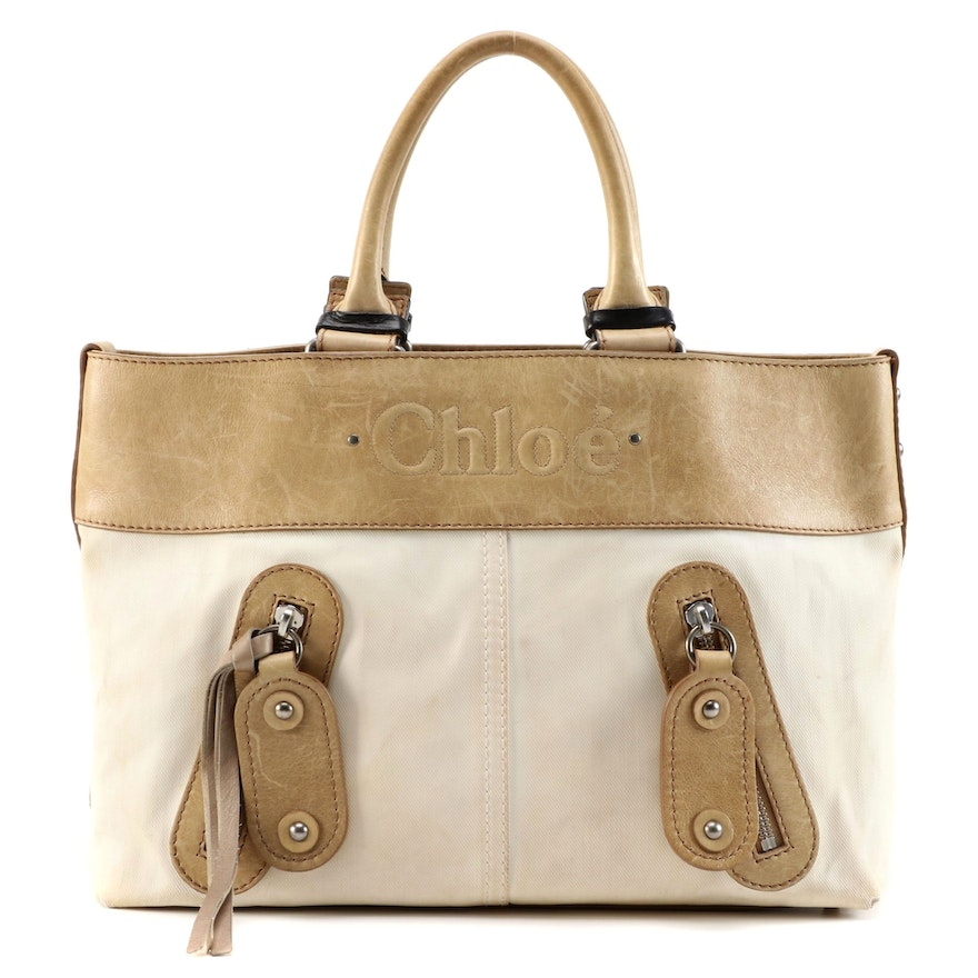 Chloé Calfskin Leather and Canvas Tote Bag