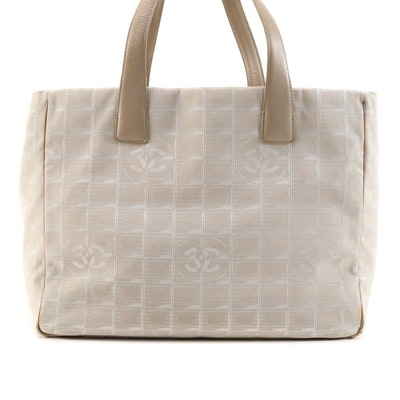 Chanel Jacquard Travel Line Tote Bag in Beige