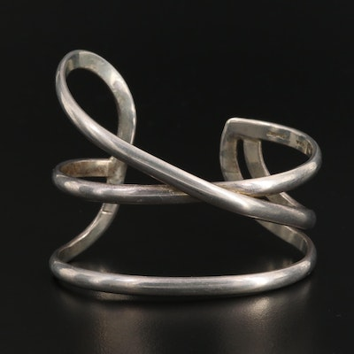 Signed Sterling Silver Handcrafted Asymmetrical Cuff