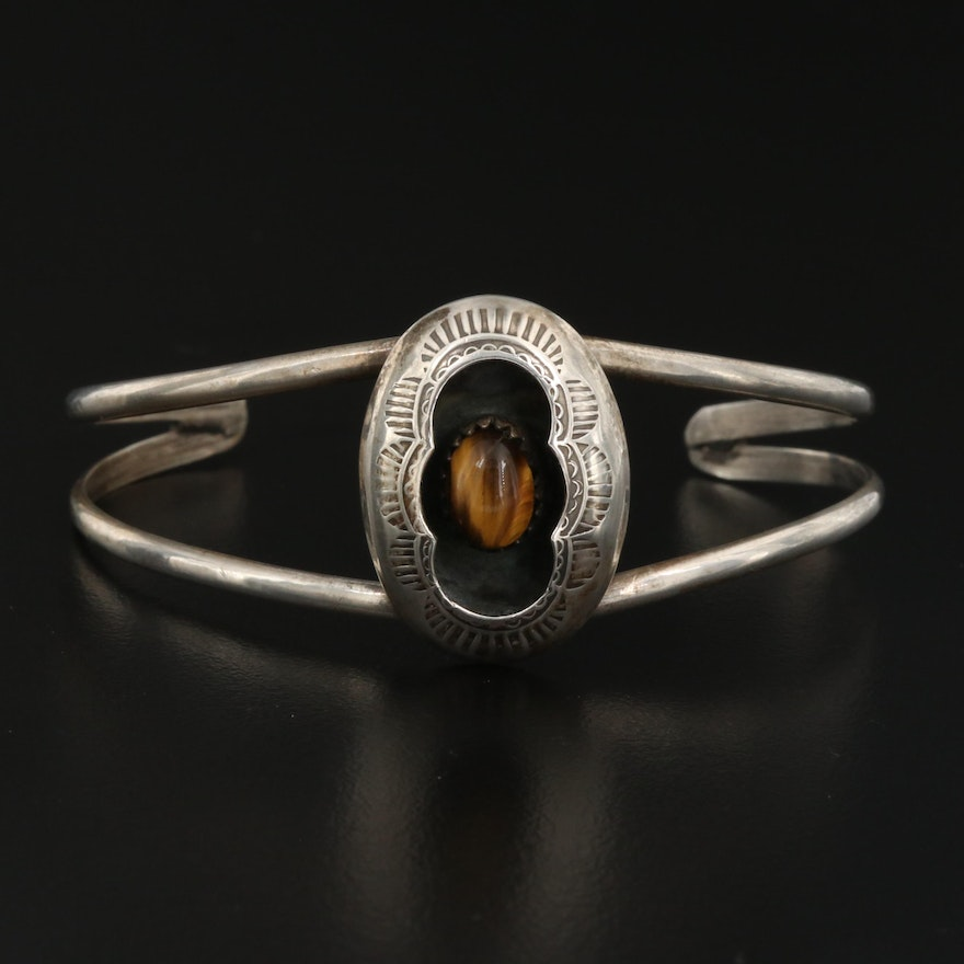 Signed Western Sterling Tiger's Eye Shadowbox Cuff with Stampwork Design