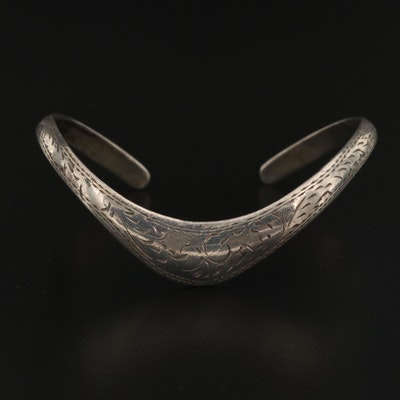 Sterling Engraved Chevron Cuff