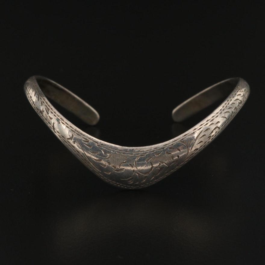 Sterling Engraved Chevron Cuff