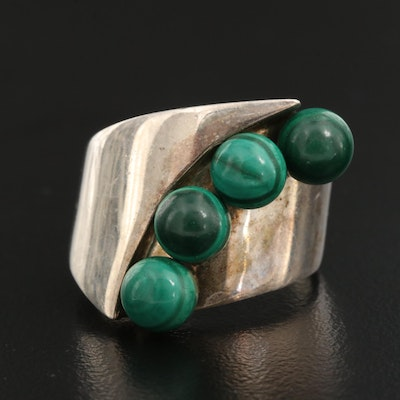 Desert Rose Trading Sterling Silver Malachite Asymmetrical Ring