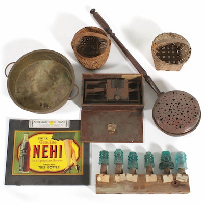 Hall Index Typewriter, Woven Baskets, Glass Insulators, Copper Bed Warmer, More