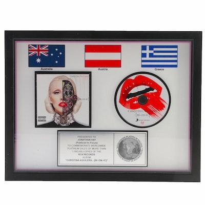 "Framed Christina Aguilera ""Bionic"" Platinum Digital Sales Award"