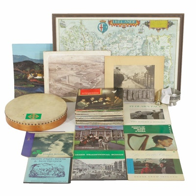 Irish Collectibles Including Records, Prints, Maps, and More