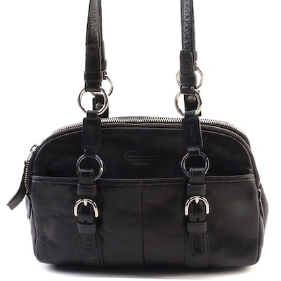 Coach Soho Black Leather Triple Compartment Doomed Satchel