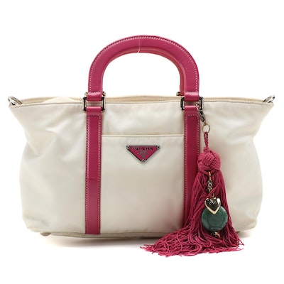 Prada Two-Way Handbag in White Nylon with Dark Pink Leather Trim and Tassel