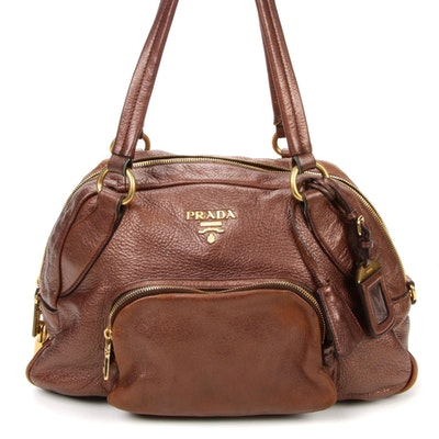 Prada Shoulder Bag in Metallic Bronze Vitello Daino Leather